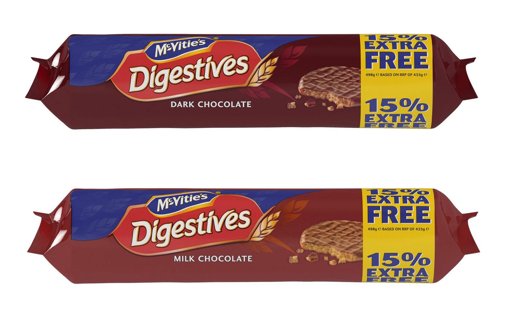 McVitie's Digestives Milk or Dark Chocolate 498g (15% extra) for £1 @ Iceland