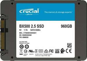 """Crucial SSD BX500 2.5"""" 960GB 3D NAND SATA III Internal (CT960BX500SSD1) for £80.46 With Code @ Ebuyer / Ebay"""