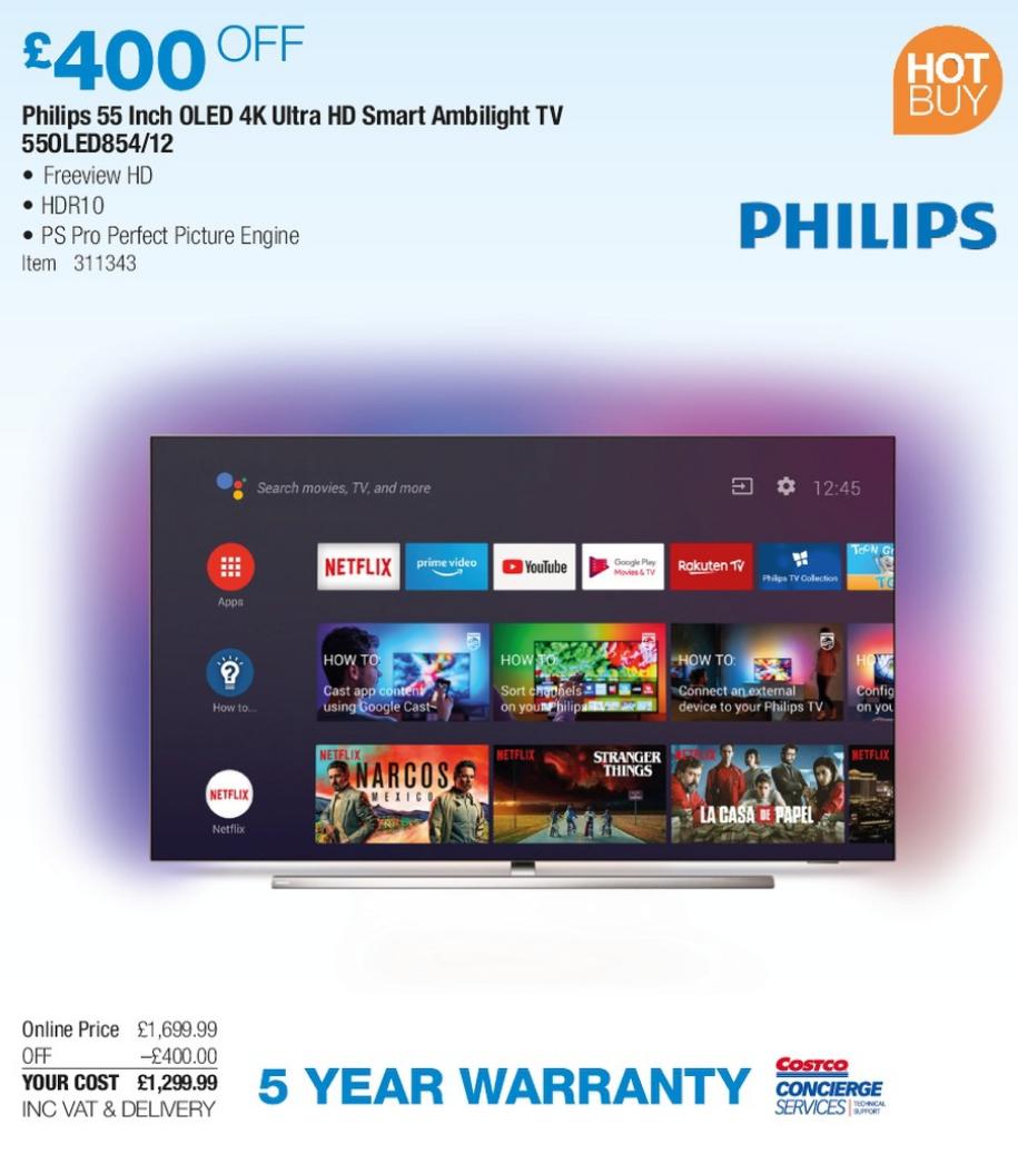 Philips 55 Inch OLED 4K Ultra Smart Ambilight TV 55OLED854/12 - £1189.99 @ Costco