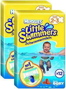 Huggies Little Swimmers Nappies - Size 2-3, 2 x Packs of 12 (24 Nappies) only £5.70 (Prime) £11.19 (Non Prime) @ Amazon