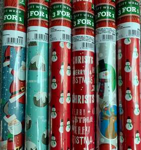 Christmas wrapping paper 3 for 25p instore @ Poundland