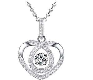 50% off Sable Pendant CZ Stone with Sparkling Floating Crystals Heart Shaped Necklace £7.99 with Code & Prime @ Amazon / Sunvalleytek-UK