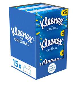 Kleenex Original Facial Tissue Boxes, 15 Tissue Boxes, 1080 Tissues Total now £9 (Prime) + £4.49 (non Prime) at Amazon