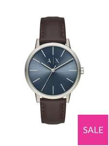 Armani Exchange Blue Sunray and Black Leather Strap Mens Watch £59 @Very