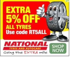 5% off ALL tyres @ National Tyres