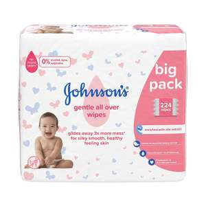 Johnson's Gentle All Over Wipes 4 packs of 56 (224) now £2.47 delivered with Subscribe and Save at Amazon