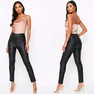 Pu Effect Coated Skinny Jeans in Tan or Black (was £32) Now £16 delivered @ MissPap