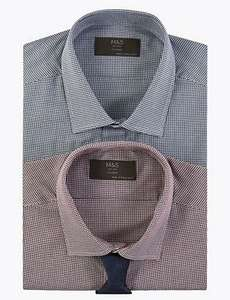M&S Collection 2 Pack Cotton Blend Tailored Shirts with Tie - £25 (Free Collection)