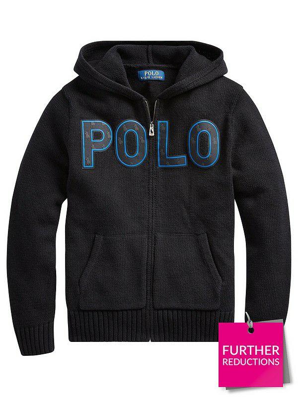 Ralph Lauren Boys Zip Through Polo Knitted Hoodie - Black £34.50 @ Very