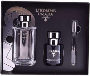 Prada L'Homme Gift Set: Eau de Toilette 100ml + Shower Gel 100ml + 10ml Travel Roll-On £54.98 Dispatched from and sold by PerfumeShopping