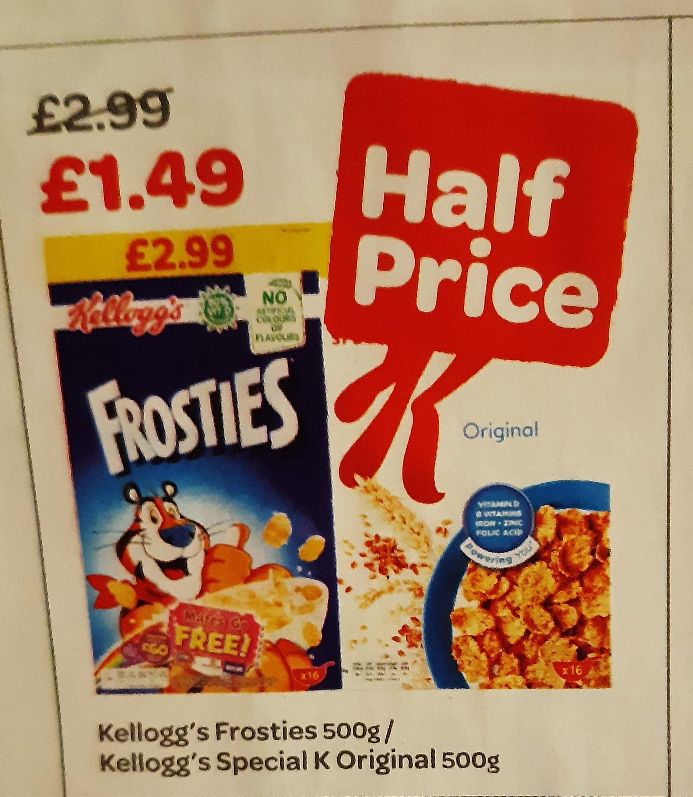 Kellogg's Special K/Frosties 500g £1.49 @ Spar