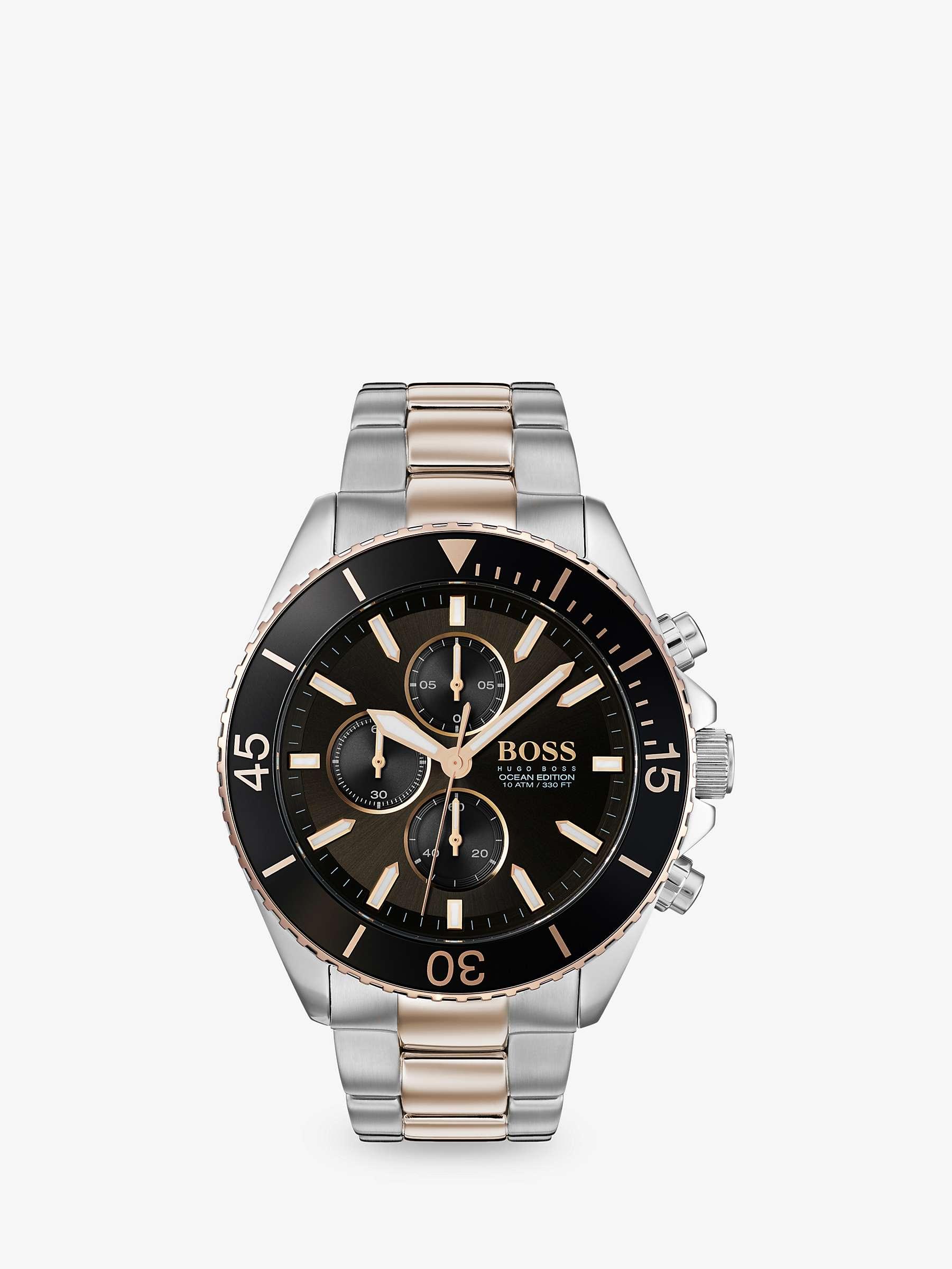 HUGO BOSS Men's Ocean Edition Chronograph Bracelet Strap Watch, Silver/Gold £134.50 John Lewis & Partners