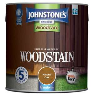 Johnstones Quick Drying Woodcare Woodstain 2.5L £12 Homebase - free Store pickup