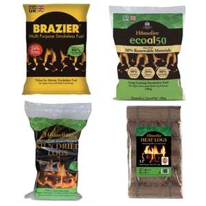 Homefire Hardwood Kiln Dried Logs 10Kg £4.50 / Brazier Smokeless Fuel Coal Bag 10kg £4 + Others - Free Click & Collect @ Wickes