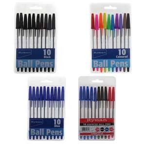 Pack of 10 Ryman Ballpoint Pens - Black / Blue / Colours 99p Per Pack Using Click & Collect @ Ryman
