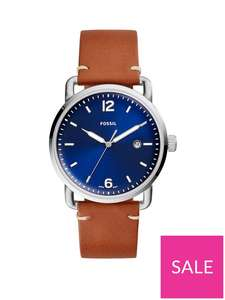 Fossil Blue and Silver Detail DayDate Dial Brown Leather Strap Mens Watch PHNYK2J - £44 / £35.20 with credit account code at VERY