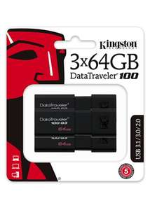 3 x Kingston Technology 64GB DataTraveler 100 Generation 3 USB 3.0 Drives - £18.19 @ Base