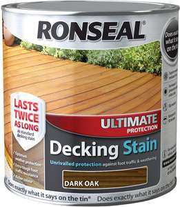 Ronseal decking stain, medium or dark oak. 2.5lt £10.03 - Dispatched from and sold by Trade Supplies Online on Amazon