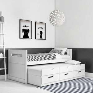 Matisse White Captain's Guest Bed with handy sliding extra trundle bed and Storage -£189.96 delivered @ Furniture 123