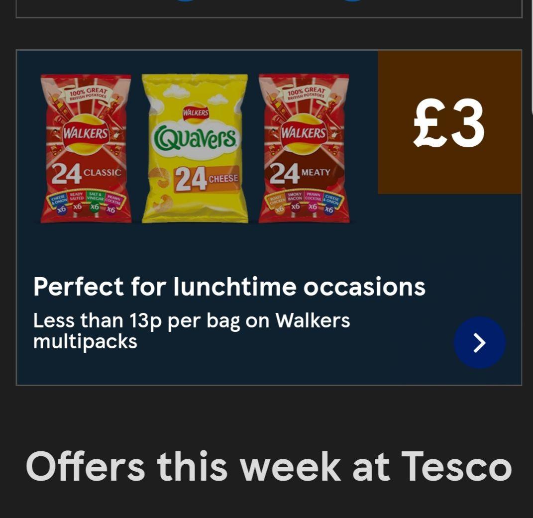 Various Walkers 24 pack multipacks £3 @ Tesco