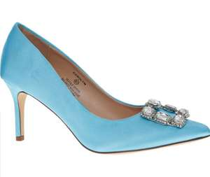 LAUREN LORRAINE Light Blue Satin Rhinestone Heels(up to size 11) £19.99+£1.99 click and collect @ TK Maxx