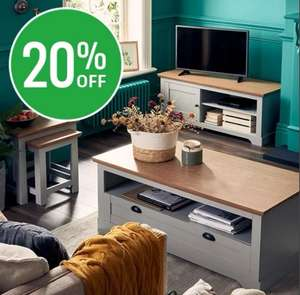 20% off selected living room furniture at Homebase