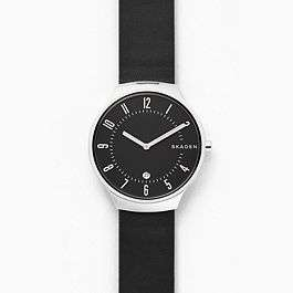 Grenen Black Leather Watch (Extra 15% With Newsletter Sign-up) Free Delivery £59 @ Skagen