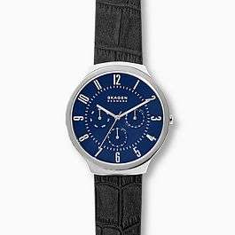 Grenen Black Leather Multifunction Watch - Brown Available £69 (Extra 15% With Newsletter Sign-up) Free Delivery @ Skagen