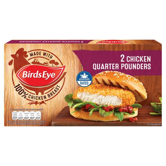 Bird's eye quarter pound chicken burgers 2 pack in-store and online £1