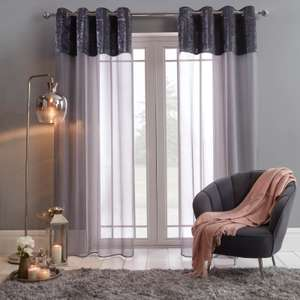 """Sienna Crushed Velvet Voile Curtains Charcoal/Pink/Cream/Grey/White 55"""" X 87"""" £8.99 @ OnlineHomeShop (£1.99 P&P)"""