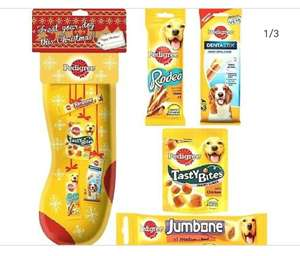Pedigree dog stocking at Aldi. 49p contains 4 packs, Rodeo's, Tasty bites, Dentastix and Jumbone