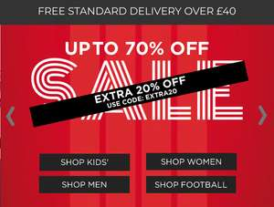 D W Sport Extra 20% off Sale Prices Men's, Women's, Kids Trainers, Clothing and accessories Brands like Nike / Adidas
