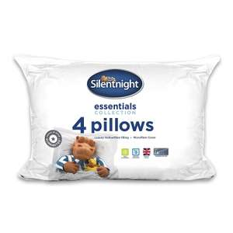 Silentnight Essentials Collection Pillow, White, Pack of 4 - £10 (Prime) £14.49 (Non-Prime) @ Amazon