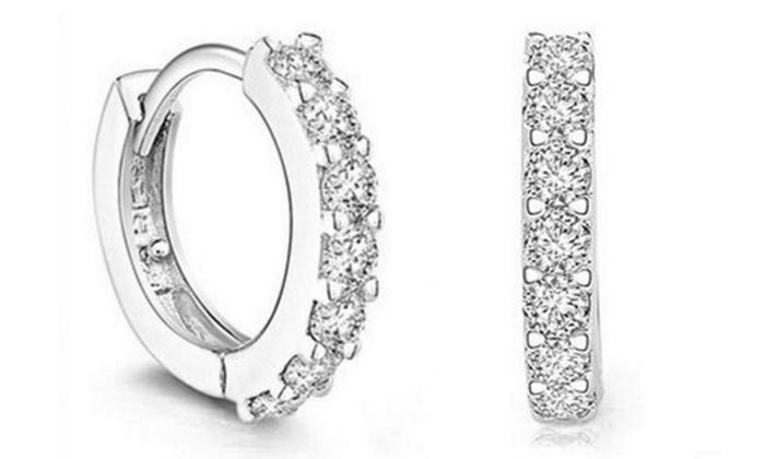 Hoop earrings with crystal from Swarovski - £2.49 @ Groupon (+£1.99 Postage)