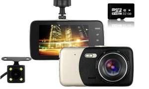 1080P HD Front and Rear Dash Cam Recorder with 32GB SD Card £31.98 @ Groupon