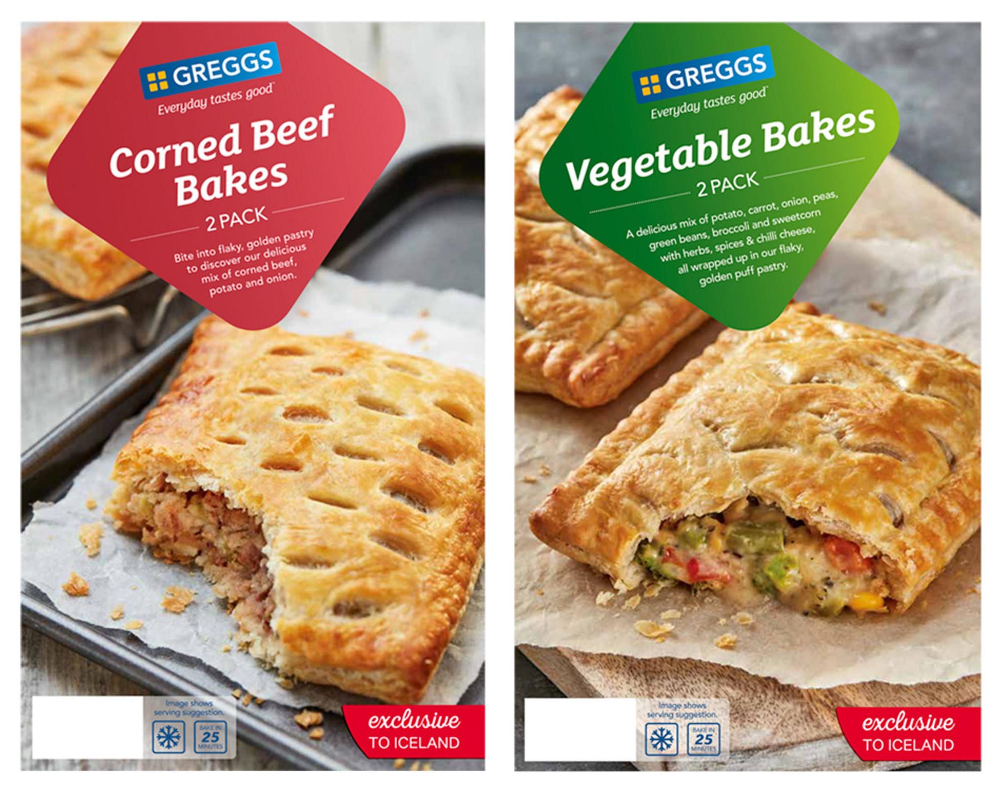 Greggs 2 Corned Beef Bakes 290g or 2 Vegetable Bakes 310g for £1 @ Iceland