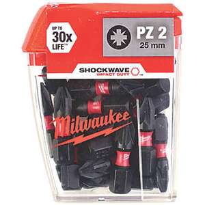 Milwaukee Shockwave Impact Screwdriver Bits PZ2 x 25mm 25 Pack £5.99 @ Screwfix