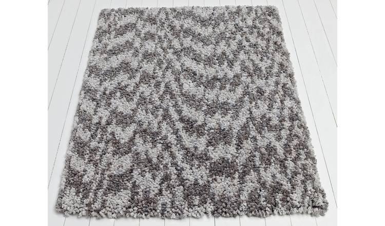 Argos Home Flump Shaggy Rug - 160x120cm - Grey Marl / Plum £16.66 @ Argos