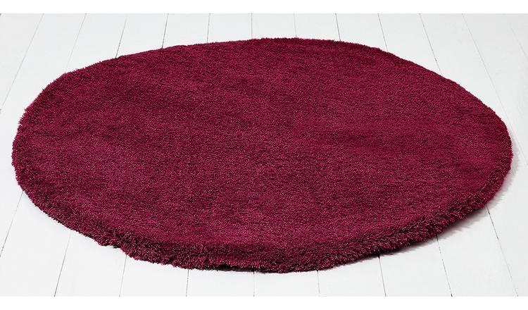 Argos - Snuggle Shaggy Circle Rug - 100cm - Berry Red - Free C&C £15