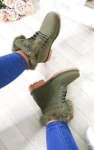 IKRUSH Womens Josie Faux Fur Lace Up Boots GREEN UK 3 - £5.99 @ eBay / ikrush_official