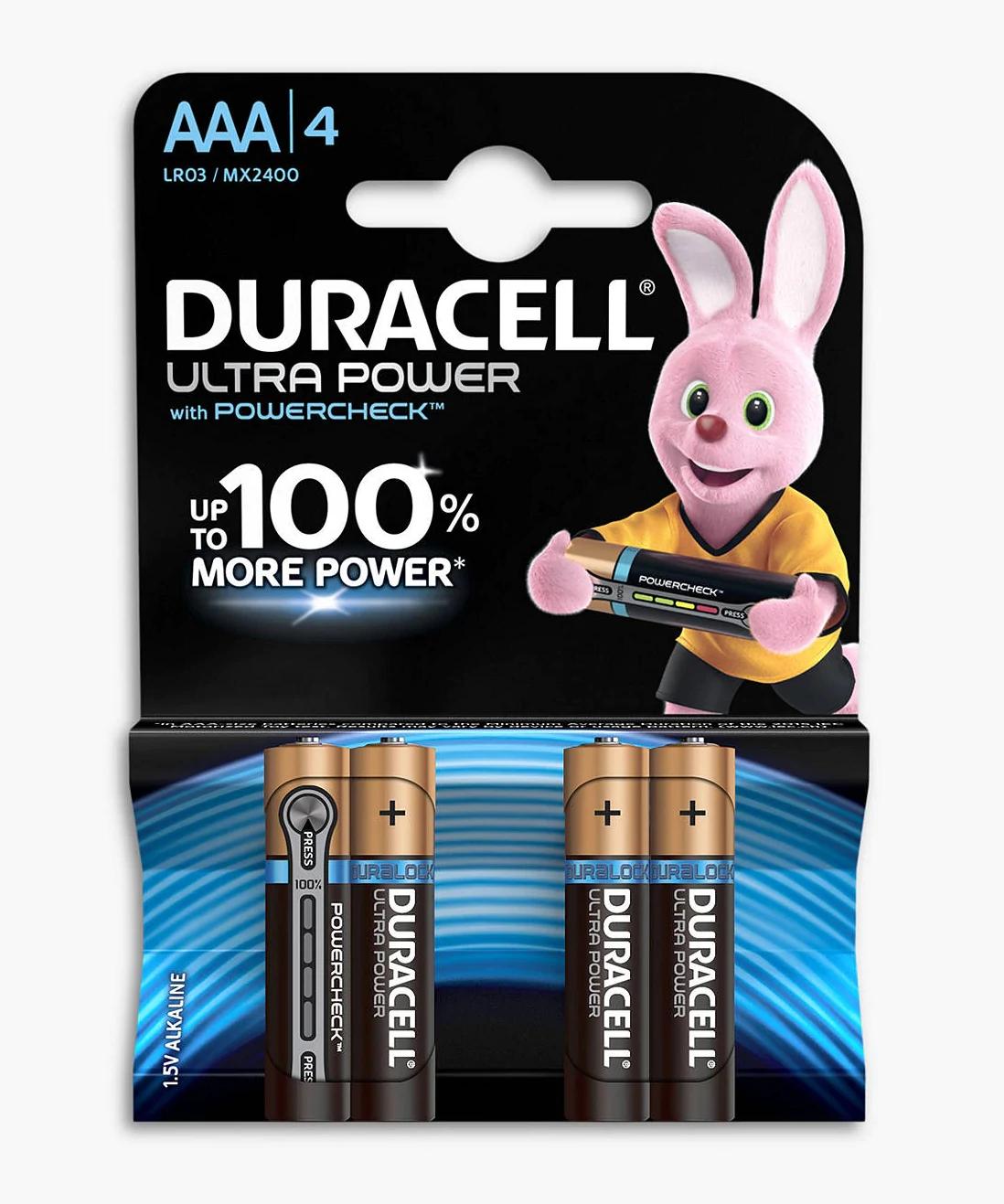 Duracell Ultra Power 1.5V Alkaline AAA Batteries, Pack of 4 for 99p @ John Lewis & Partners (instore / c&c £2)