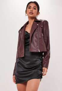 wine ultimate boxy faux leather biker jacket - £10.50+ £2.99 Click and Collect / £3.99 delivery @ Missguided