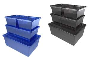 Storage Box Sets - 4 Pack (Blue or Grey) for £5 @ Homebase (Free click and collect)