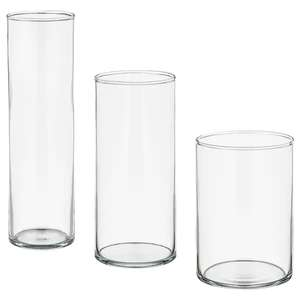 CYLINDER Vase, set of 3, clear glass for £10 @ IKEA