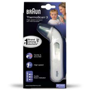 BRAUN IRT3030 ThermoScan 3 Infrared Ear Thermometer £17.49 Prime/ £21.98 Non Prime Delivered @ Amazon