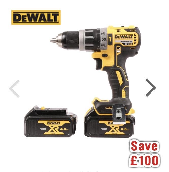 DeWalt DCD796M2-GB 18V Li-Ion Brushless Combi Drill 2 x 4.0Ah £179.98 @ Toolstation