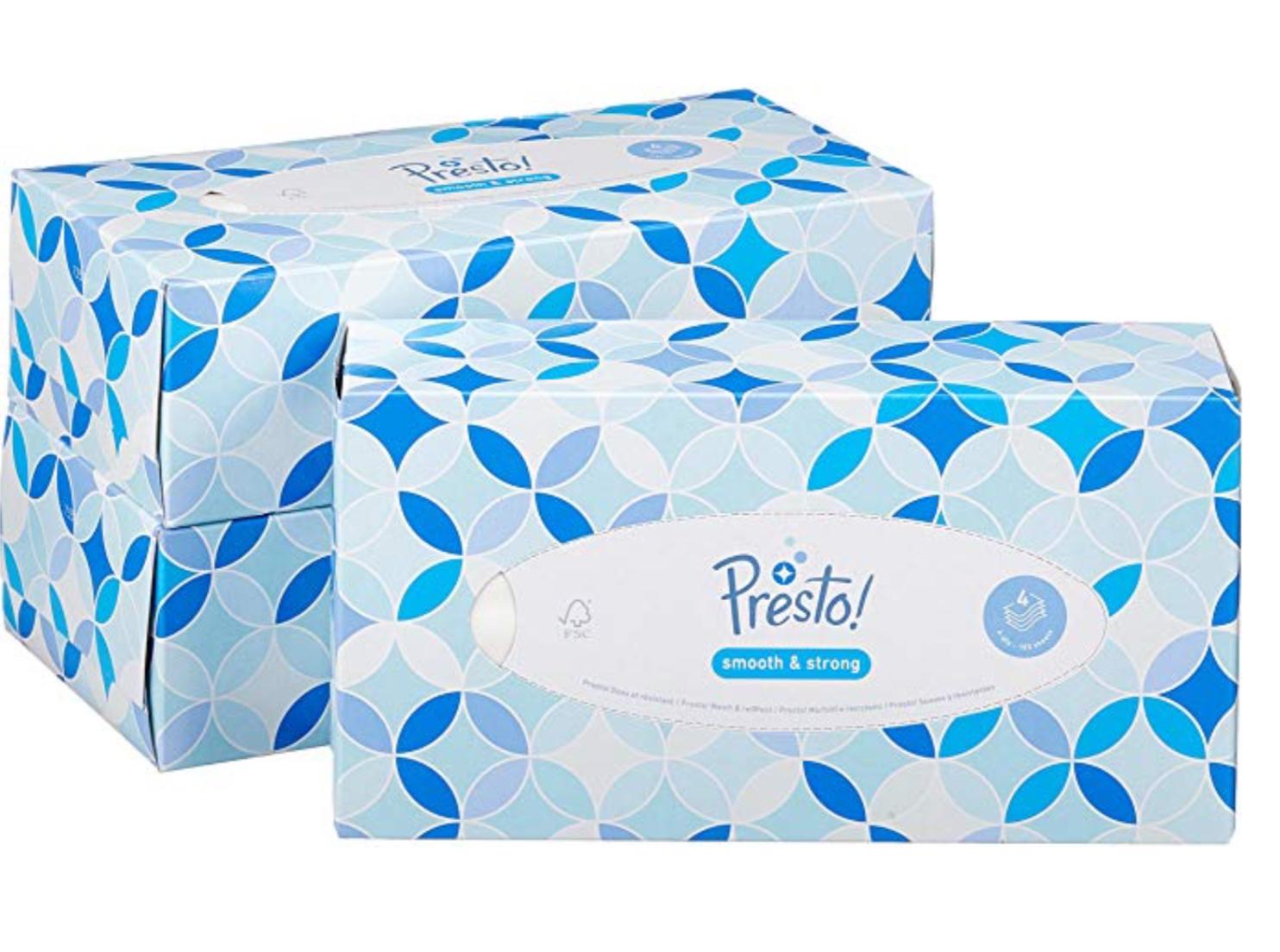 Amazon Brand - Presto! 4-Ply Facial Tissues, 12 Pack (12 x 100 Tissues) £12.52 Prime / £17.01 Non Prime at Amazon