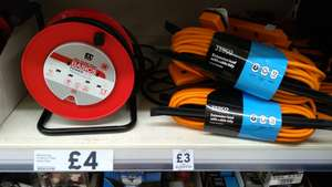 13 amp, twin plug extension leads - £4 for 15m or £3 for 13m at Tesco (Mickleover)