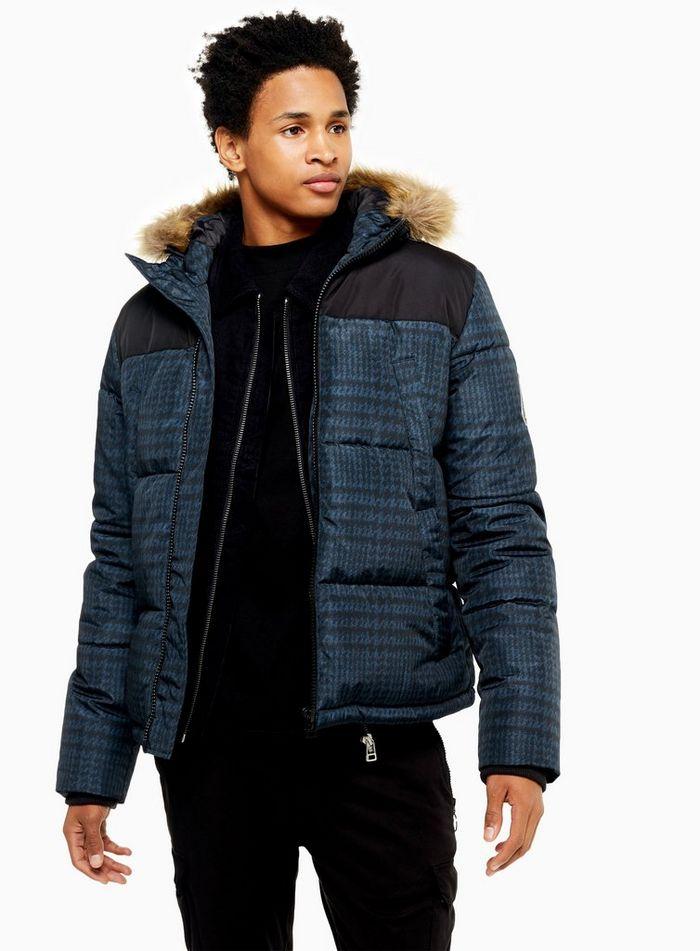 Navy Check Faux Fur Polar Puffer Jacket at Top Man for £28.00 @ TopMan