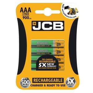 JCB Pre-Charged AAA 900mAh Rechargeable Batteries 4 Pack - £2.29 + £2.49 P&P, Free if over £30 @ Battery Force